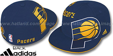 Pacers 'SLAM DUNK' Fitted Hat by adidas - navy