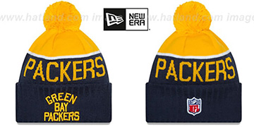 Packers 2015 THROWBACK STADIUM Navy-Gold Knit Beanie Hat by New Era