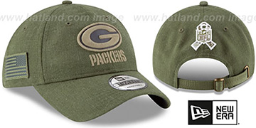Packers 2018 SALUTE-TO-SERVICE STRAPBACK Olive Hat by New Era