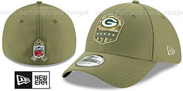 Packers 2019 SALUTE-TO-SERVICE FLEX Olive Hat by New Era