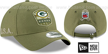 Packers 2019 SALUTE-TO-SERVICE STRAPBACK Olive Hat by New Era