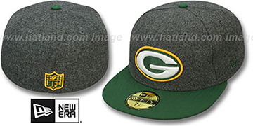 Packers '2T NFL MELTON-BASIC' Grey-Green Fitted Hat by New Era