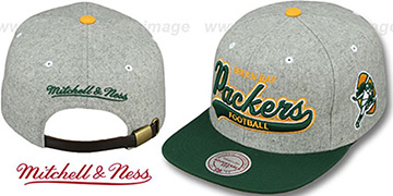 Packers '2T TAILSWEEPER STRAPBACK' Grey-Green Hat by Mitchell & Ness