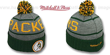 Packers 'HIGH-5 CIRCLE BEANIE' Grey-Green by Mitchell and Ness