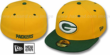 Packers 'NFL 2T-TEAM-BASIC' Gold-Green Fitted Hat by New Era