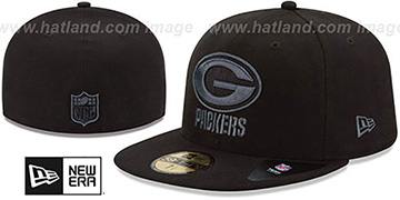 Packers 'NFL FADEOUT-BASIC' Black Fitted Hat by New Era