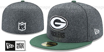 Packers SHADER MELTON Grey-Green Fitted Hat by New Era