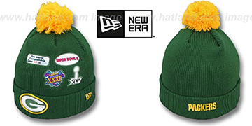 Packers SUPER BOWL PATCHES Green Knit Beanie Hat by New Era