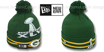 Packers 'SUPER BOWL XLV' Green Knit Beanie Hat by New Era