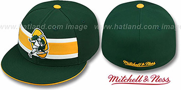 Packers 'THROWBACK TIMEOUT' Green Fitted Hat by Mitchell & Ness