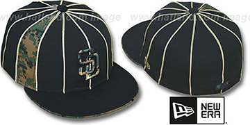 Padres ARMY DIGITAL SLIVER Black Fitted Hat by New Era