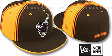 Padres COOP 'DUAL PIPED PINWHEEL' Brown-Gold Fitted Hat