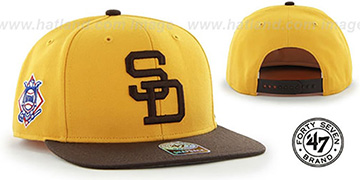 Padres COOP 'SURE-SHOT SNAPBACK' Gold-Brown Hat by Twins 47 Brand