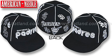 Padres 'COOPERSTOWN ALL-OVER' Black Fitted Hat by American Needle