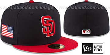 Padres COUNTRY COLORS Navy-Red Fitted Hat by New Era