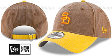 Padres GW COOP RUGGED CANVAS STRAPBACK Brown-Gold Hat by New Era