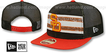 Padres HERITAGE-STRIPE SNAPBACK Brown-Orange Hat by New Era
