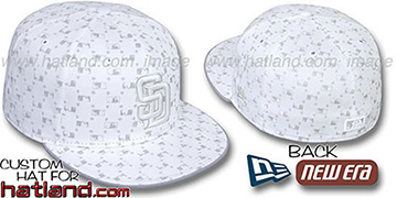 Padres 'MLB FLOCKING' White-Grey Fitted Hat by New Era