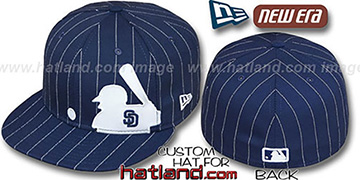 Padres 'MLB SILHOUETTE PINSTRIPE' Navy-White Fitted Hat by New Era