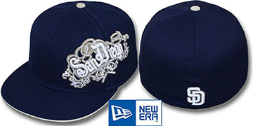 Padres 'ROYALE OLD ENGLISH' Navy Fitted Hat by New Era