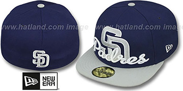 Padres SCRIPT-PUNCH Navy-Grey Fitted Hat by New Era