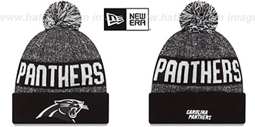Panthers 2016 STADIUM Black-White Knit Beanie Hat by New Era