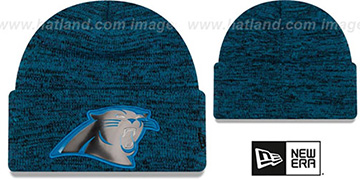 Panthers BEVEL Blue-Black Knit Beanie Hat by New Era