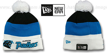 Panthers 'CUFF-SCRIPTER' White-Blue-Black Knit Beanie Hat by New Era