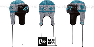 Panthers 'FROSTWORK TRAPPER' Blue Knit Hat by New Era