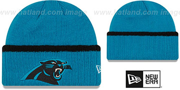Panthers RIBBED-UP Blue Knit Beanie Hat by New Era