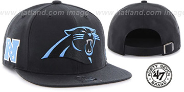 Panthers 'SUPER-SHOT STRAPBACK' Black Hat by Twins 47 Brand