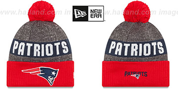 Patriots '2016 STADIUM' Red-Navy-Grey Knit Beanie Hat by New Era