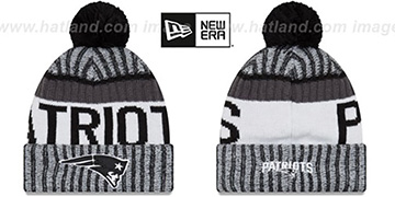 Patriots '2017 STADIUM BEANIE' Black-White Knit Hat by New Era