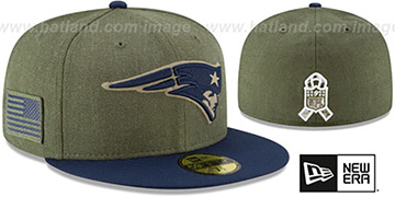 Patriots 2018 SALUTE-TO-SERVICE Olive-Navy Fitted Hat by New Era