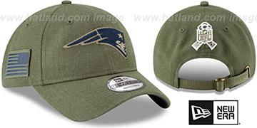 Patriots '2018 SALUTE-TO-SERVICE STRAPBACK' Olive Hat by New Era