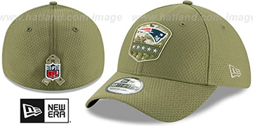 Patriots 2019 SALUTE-TO-SERVICE FLEX Olive Hat by New Era