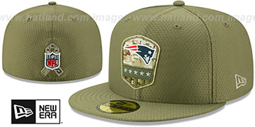 Patriots 2019 SALUTE-TO-SERVICE Olive Fitted Hat by New Era