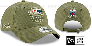 Patriots 2019 SALUTE-TO-SERVICE STRAPBACK Olive Hat by New Era