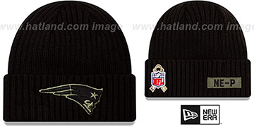 Patriots '2020 SALUTE-TO-SERVICE' Black Knit Beanie Hat by New Era