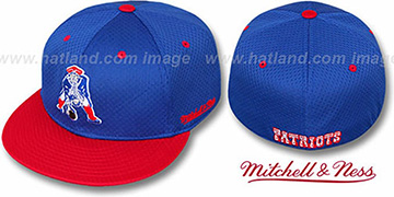Patriots '2T BP-MESH' Royal-Red Fitted Hat by Mitchell & Ness