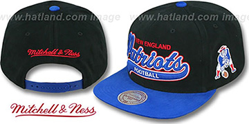 Patriots '2T TAILSWEEPER SNAPBACK' Black-Royal Hat by Mitchell & Ness