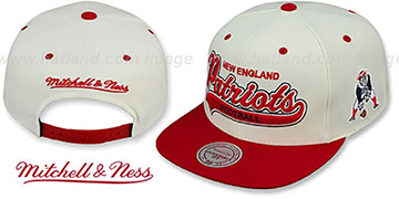 Patriots '2T TAILSWEEPER SNAPBACK' White-Red Hat by Mitchell and Ness
