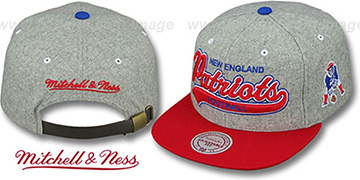 Patriots '2T TAILSWEEPER STRAPBACK' Grey-Red Hat by Mitchell & Ness