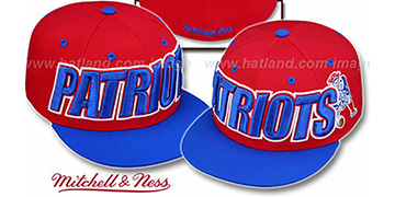 Patriots '2T WORDMARK' Red-Royal Fitted Hat by Mitchell & Ness