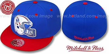 Patriots 2T XL-HELMET Royal-Red Fitted Hat by Mitchell & Ness