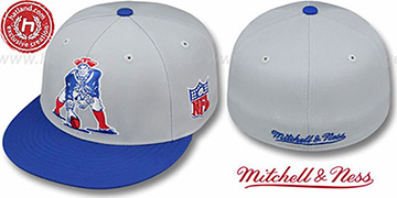 Patriots '2T XL-LOGO' Grey-Royal Fitted Hat by Mitchell and Ness