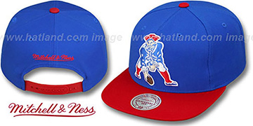 Patriots '2T XL-LOGO SNAPBACK 2' Royal-Red Adjustable Hat by Mitchell and Ness