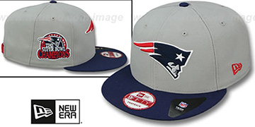 Patriots '4-TIME CHAMPS SNAPBACK' Grey-Navy Hat by New Era