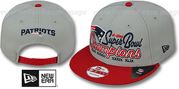Patriots '4-TIME CHAMPS SNAPBACK' Grey-Red Hat by New Era