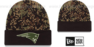 Patriots ARMY CAMO PRINT-PLAY Knit Beanie Hat by New Era